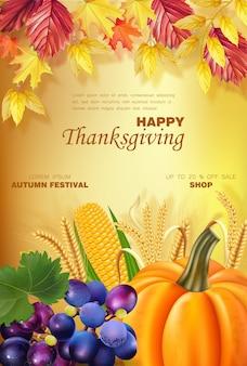 Gelukkig thanksgiving menu met pompoen en fruit