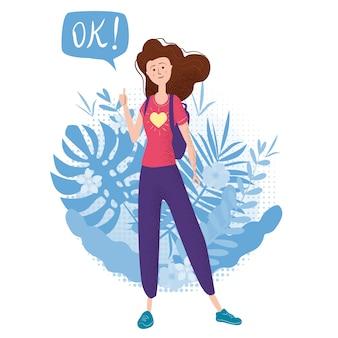 Gelukkig tienermeisje met duim omhoog. student met rugzak bubble ok. vector trendy platte cartoon stijl