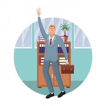 Gelukkig uitvoerend zakenmanbeeldverhaal