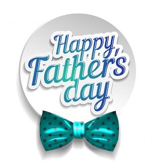 Gelukkig vaderdag met een blauwe strik op een witte achtergrond