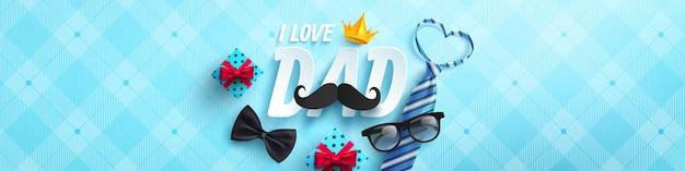 Gelukkig vaderdag poster of sjabloon voor spandoek met stropdas, bril en geschenkdoos op blauw