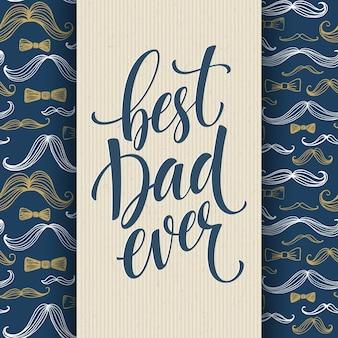 Gelukkig vaders dag achtergrond met groet belettering en snor patroon. vector illustratie