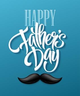 Gelukkig vaders dag achtergrond met groet belettering en snor. vector illustratie eps10