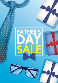 Gelukkig vaders dag kaart met stropdas en brillen