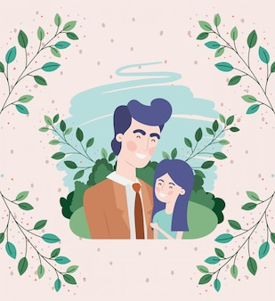 Gelukkig vaders dag kaart met vader en dochter tekens