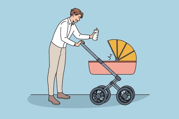 Gelukkig vaderschap en communicatie met babyconcept. jonge lachende man vader stripfiguur wandelen met wandelwagen en pasgeboren baby binnen vectorillustratie