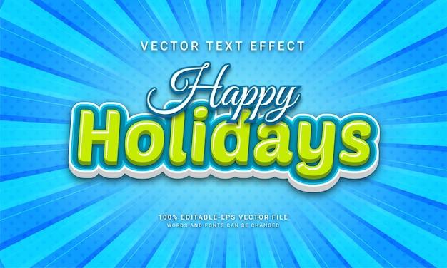 Gelukkig vakantie bewerkbaar teksteffect