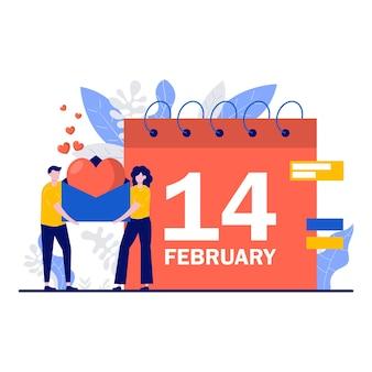 Gelukkig valentijnsdag festival concept met een klein karakter.
