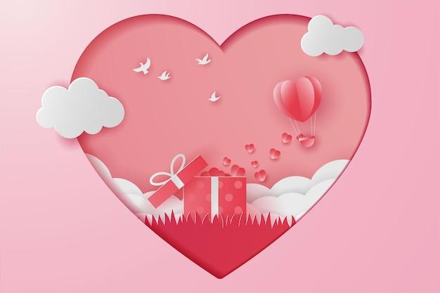 Gelukkig valentijnsdag geschenk met, vogel en veld gras, papier gesneden