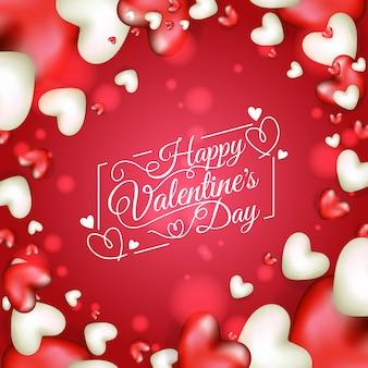 Gelukkig valentijnsdag illustratie ontwerp met realistische hartvorm