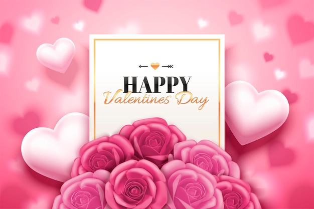 Gelukkig valentijnsdag ontwerp met roze rozenboetiek en hart gevormd in 3d illustratie