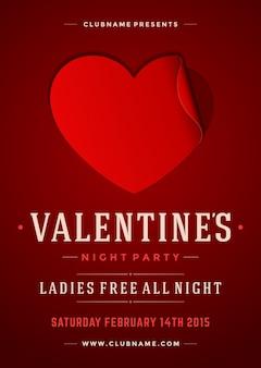 Gelukkig valentijnsdag partij flyer ontwerp sjabloon vectorillustratie en papier gesneden hart vorm