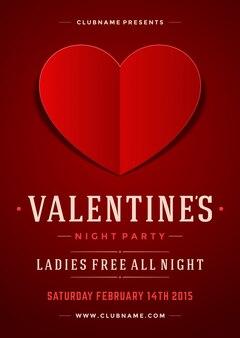 Gelukkig valentijnsdag partij poster of flyer sjabloon vectorillustratie en papier gesneden hart vorm