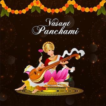 Gelukkig vasant panchami creatief element en achtergrond