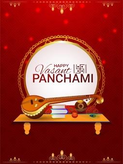 Gelukkig vasant panchami creatieve elementen en achtergrond