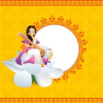 Gelukkig vasant panchami-het ontwerp van de groetkaart met illustratie van