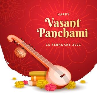 Gelukkig vasant panchami-instrument realistisch