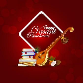 Gelukkig vasant panchami-wenskaart met muziekinstrument en boeken