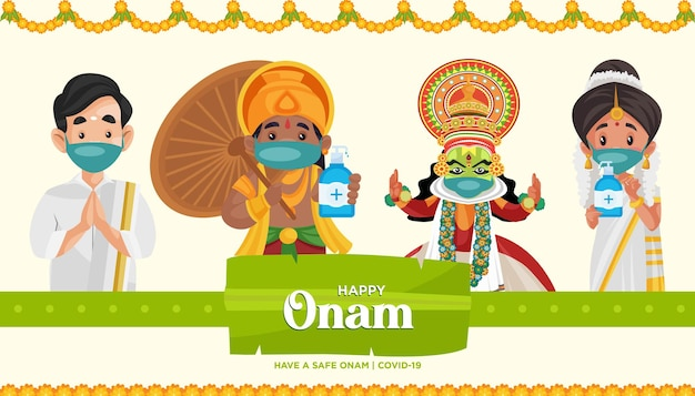Gelukkig veilig onam festival banner ontwerpsjabloon