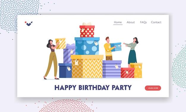 Gelukkig verjaardagsfeestje bestemmingspagina sjabloon. mensen dragen geschenkdozen omwikkeld met feestelijke strik. personages bereiden cadeautjes voor familie en vrienden voor op vakantieviering. cartoon vectorillustratie