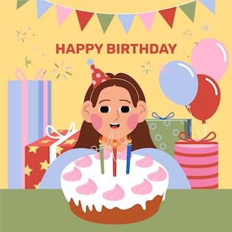 Gelukkig verjaardagsfeestje met taart en cadeautjes