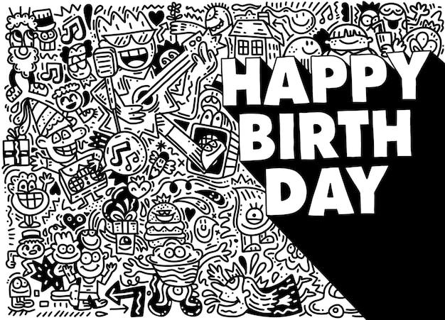 Gelukkig verjaardagsontwerp met smileys met verjaardagshoed en tekst voor feest en feest. illustratie.