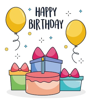 Gelukkig verjaardagsontwerp met verjaardagstaart en geschenkdozen op witte achtergrond