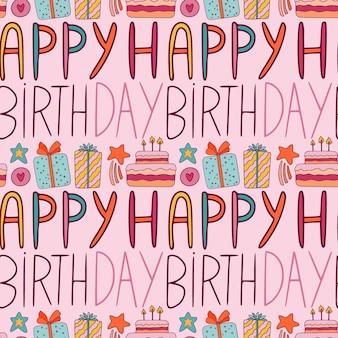 Gelukkig verjaardagspatroon op roze achtergrond met giftboxex en cakes.