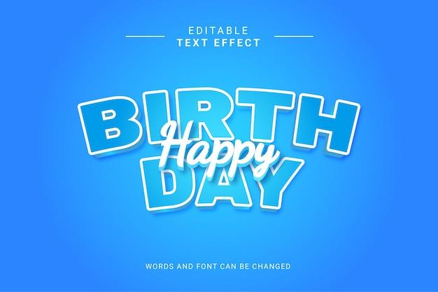 Gelukkig verjaardagsteksteffect met blauwe kleur