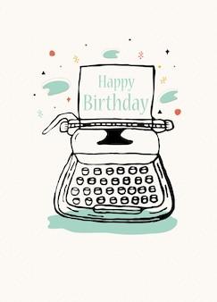 Gelukkig verjaardagsuitnodigingontwerp met typemachine in vector