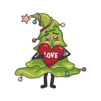 Gelukkig verliefd kerstboom met gezicht rood hart in handen en voeten feestelijke decoratie voor nieuwjaar een...
