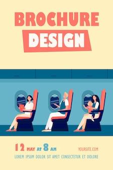 Gelukkig vliegtuigpassagiers zittend op hun stoel, gadgets gebruiken, kind op schoot houden, drinken uit suikerriet flyer-sjabloon