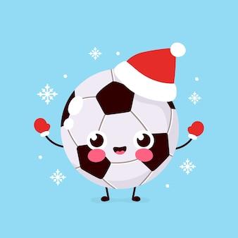 Gelukkig voetbal in kerstmuts en handschoenen