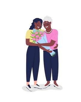 Gelukkig volwassen moeder met volwassen dochter egale kleur gedetailleerde karakters.