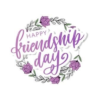 Gelukkig vriendschap dag wenskaart met bloemen krans en paarse letters