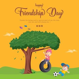 Gelukkig vriendschapsdag-bannerontwerp met spelende kinderen