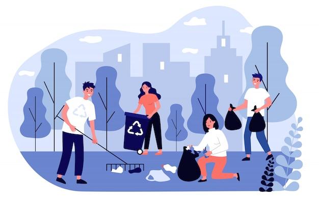 Gelukkig vrijwilligers verzamelen vuilnis in stadspark