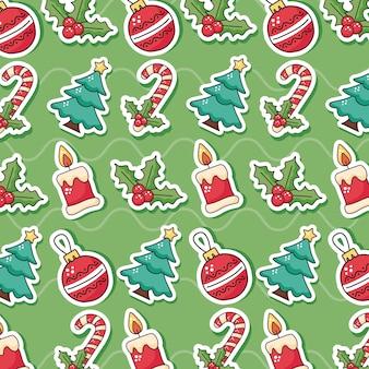 Gelukkig vrolijk kerst patroon iconen afbeelding ontwerp