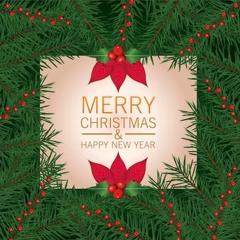 Gelukkig vrolijk kerstfeest belettering kaart met bloemen en bladeren frame illustratie