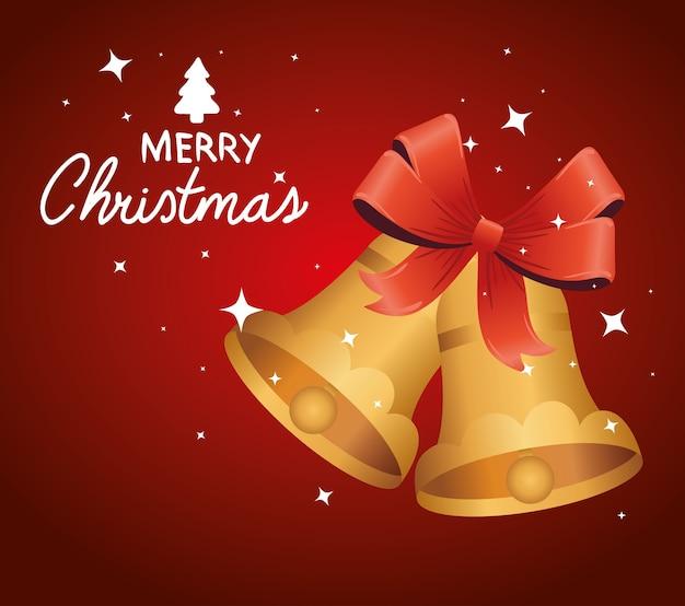 Gelukkig vrolijk kerstfeest belettering kaart met gouden klokken en boog illustratie ontwerp