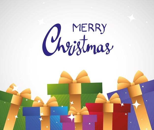 Gelukkig vrolijk kerstfeest belettering kaart met kleuren geschenken afbeelding ontwerp