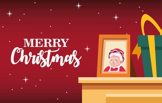 Gelukkig vrolijk kerstfeest belettering kaart met santa vrouw in portret illustratie
