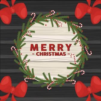 Gelukkig vrolijk kerstfeest belettering kaart met strikken in cirkelvormige houten frame illustratie