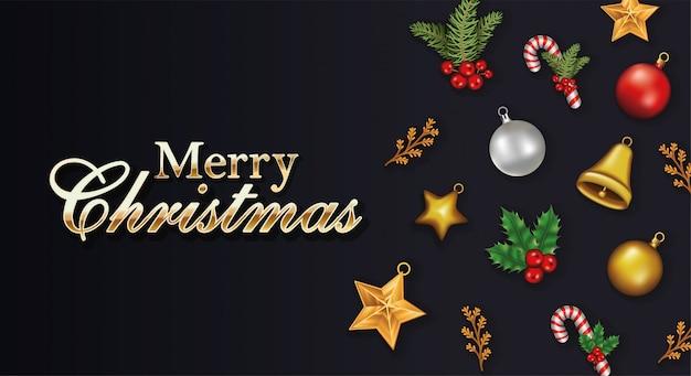 Gelukkig vrolijk kerstfeest belettering met set pictogrammen