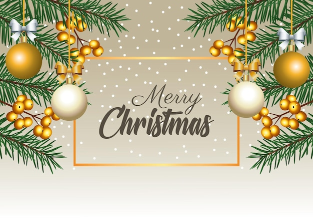 Gelukkig vrolijk kerstfeest belettering met sparren en ballen in vierkante frame illustratie