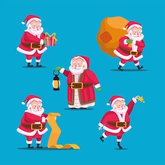 Gelukkig vrolijk kerstfeest bundel van santas karakters illustratie