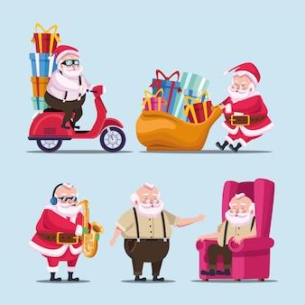Gelukkig vrolijk kerstfeest bundel van schattige santas karakters illustratie