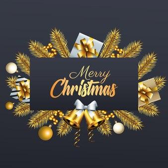 Gelukkig vrolijk kerstfeest gouden belettering met geschenken en klokken in sparren frame illustratie