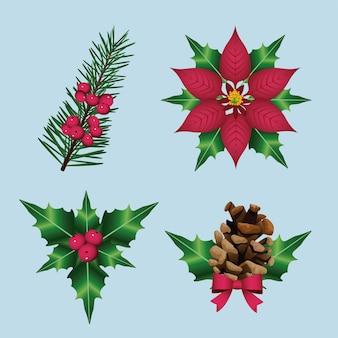 Gelukkig vrolijk kerstfeest met bloemen decoratieve pictogrammen illustratie