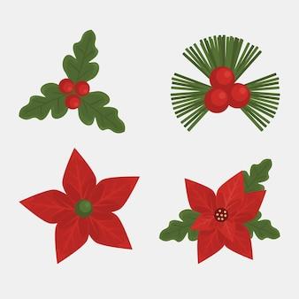Gelukkig vrolijk kerstkaart met bladeren en bloemen instellen pictogrammen illustratie Premium Vector